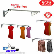 25mmGARMENT CLOTHES RAIL WALL MOUNTED HANGING RAIL DISPLAY 4ft 5ft 6ft TUBING