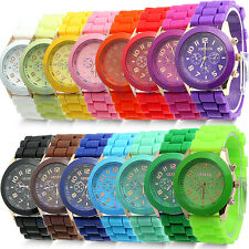 Trendy Unisex Geneva Silicone Jelly Gel Quartz Analog Sports Wrist Watch