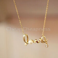 New Hot Women Gold & Silver Pearl Pendant Love Chain Necklace CA WF
