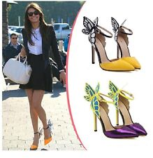 New Women's Candy Sweet Butterfly Pointy Toe Ankle Strap High Heel Shoes Pumps