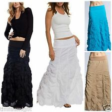 BOHO CHIC VOILE BUBBLE MAXI SKIRT PETITE LENGTH 3 COLORS WHITE BLACK OMBRE PLUM