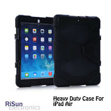 Heavy Duty Shock Proof 3 layer Protect Black case& screen protector for iPad Air