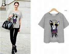 Hot 2014 new fashion summer cotton short sleeve glasses dogCasual women T-shirt