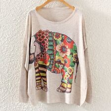 Vintage Women Long Sleeve Floral Elephant Print Loose Pullover Knit Sweater Tops