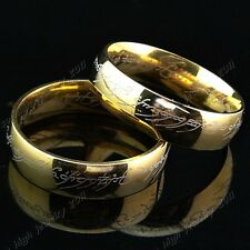 Wedding Engagement Titanium Stainless Steel Gold Lord of Rings The One Ring LOTR