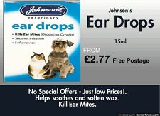 Johnsons Ear Drops- 15ml - for Cats & Dogs  -A014- Free Post Item