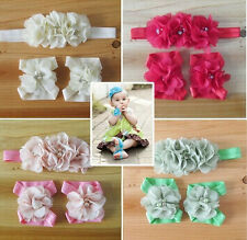Foot Flower Barefoot Sandal + Headband Set for Baby Infants Girls Hair Accessory