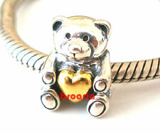 925 Sterling Silver Bear Gold Plate Love Heart Fit European Bead Charm Bracelet