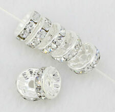 6/8/10mm White Silver Plated CZ Crystal Rhinestone Spacer Loose Beads Findings