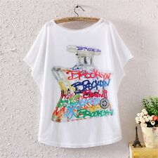 Vintage Womens Batwing Short Sleeve Geometric Letter Printed T Shirt Tee Blouse