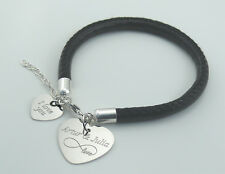 Bangle Bracelet thick leather with 925 sterling silver heart free engraving