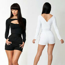 CHEAP So Sexy Deep V Long Sleeve Short Pants Bodycon Clubwear Jumpsuits Rompers