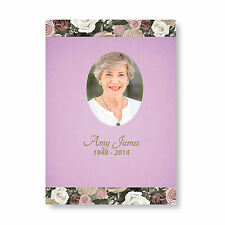 Personalised Funeral Memorial Order of Service A5 Folded Beautiful Lilac Flowers