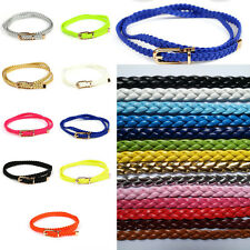 Fashion Womens Thin Buckle Woven Faux Leather Braided Belt Waistband New