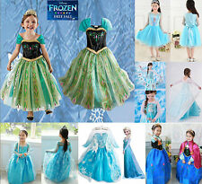 New Disney Princess Frozen Queen ELSA ANNA Costume Tulle Girls Dresses 3T-12T