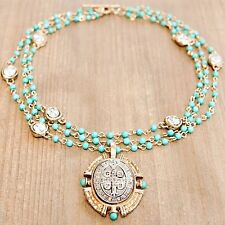 BENITO Triple Strand Turquoise Bead Necklace Gold Silver San Benito Cross Medal