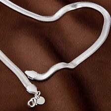 "Fashion Stunning Silver EP Flat Snake Chain Necklace 4mm/6mm Wide 16""~24"""