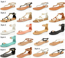 WOMENS LADIES SUMMER SANDALS FLAT WEDGE GLADIATOR OPEN TOE BEACH HOLIDAY SHOES