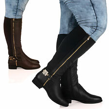 D7Y Women Ladies Knee High Extra Wide Fit Low Block Heel Zip Up Boot Stretch New
