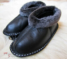 LUXURY MENS REAL SHEEPSKIN BOOTS SLIPPER, NAPPA, Black