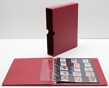 VARIO Red 3 Ring Binder w 20 Five Pocket Pages for Stamp, Currency & Other