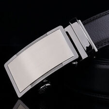 "Elegant Mens 1.37"" Wide Black Leather Belt Auto Lock Buckle Dress & Casual Belts"