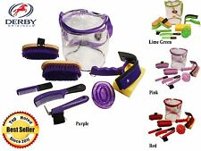 Derby Originals Deluxe Horse Grooming Kit 9 Items Select Lime, Red, Purple, Pink