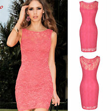 Women Pink Back Low Cut Lace Bodycon Evening Party Cocktail Dress UK Size 8-18