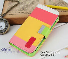 Hot Pink STAND WALLET PU LEATHER CASE/screen protector FOR Samsung Galaxy S5