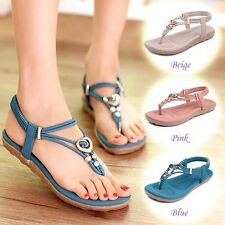 Women's Comfy Flip flops Flat Sandals Ankle Strap Beach Summer Shoes