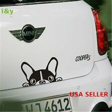 "6""x4"" Vinyl Car Decals Stickers funny cute peeper dog puppy black/silver"