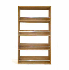 SOLID OAK SPICE RACK 4 SHELVES KITCHEN WORKTOP WALL MOUNTED WOODEN JAR STORAGE