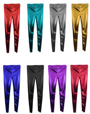 Kids LADIES WOMEN'S GIRLS Disco  Metallic  Shiny  Leggings Footless