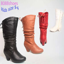 Youth girl's Simple Lace Zipper Low Heel Round Toe Causal Dress Boot Size 9 - 4