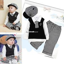 Gentle 5 pcs 1-4Y Boy Baby Grid Formal Suit Set Christening Outfit Wedding
