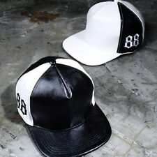 ByTheR Men's Faux Leather Snapback Black White 88 Numbering SFSELFAA0020201