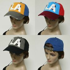 Multi Color LA Baseball Curved Bill Adjustable Strap Cap Hat Mens Womens New