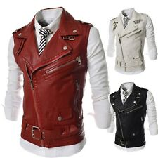 Fashion Mens Slim Fit Multiple Zipper Large Lapel Leather Vest Jacket Coats