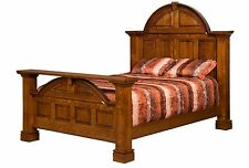 Amish Luxury Mission Panel Bed Solid Hardwood Bedroom Furniture King Queen
