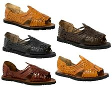 mens genuine leather huaraches tough tire sole black brown mexican sandals