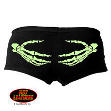Hot Leather Ladies Boy Shorts Booty Shorts Skeleton Hands Glow in the Dark
