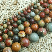 "Natural Picasso Jasper Gemstone Round Beads 15"" 6mm 8mm 10mm"