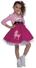 Girls Poodle Skirt Costume 50s Fancy Dress Pink Red Halloween Toddler & Childs