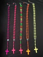RETRO NEON FLUORESCENT ROSARY BEAD 80s 90s RAVE NECKLACE