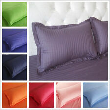 One Pair Hotel Bedding Pure Color Satin Striped Cotton Pillowcases Multi-color