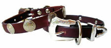 Dog Collar Leather Designer Handcrafted with Silver Conchos+3 pc Silver Buckle