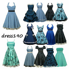 dress190 Blue 50s Rockabilly Vintage Pinup Party Cocktail Prom Bridesmaid Dress