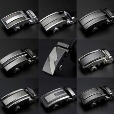 Men's Black Leather Dress Casual Auto Lock Sliding Buckle Belt, Up to 44 inches