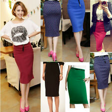 New Fashion Women High Waisted Belted Stretch Bodycon Knee Length Pencil Skirt