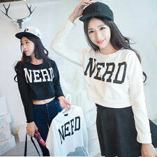 Fashion Womens Cropped Hoodie Long T-shirt Letter NERD Print Sweater Blouse